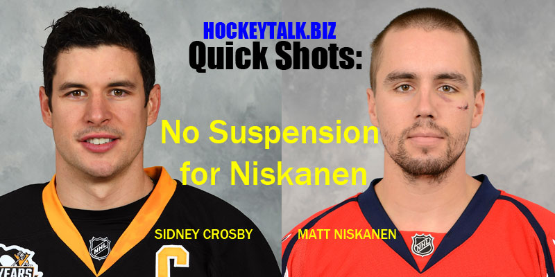 No Suspension for Niskanen after Hit on Crosby* UPDATE: Crosby Concussed